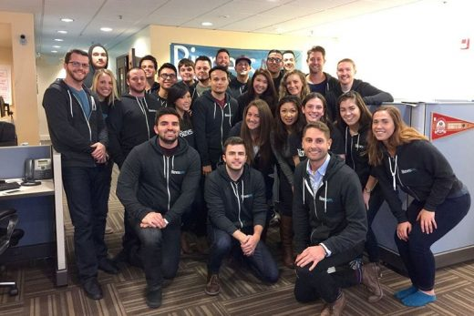 ANDREW GAZDECKI (FRONT ROW, LEFT) AND HIS TEAM AT SOFTWARE FIRM BIZNESS APPS. GAZDECKI IS RELOCATING HIS COMPANY FROM SAN FRANCISCO TO SAN DIEGO