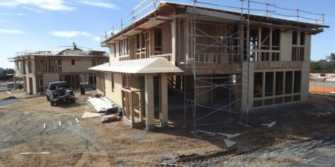 Two model homes under construction at Lanai by Shea Homes, a twenty home development in Carlsbad.