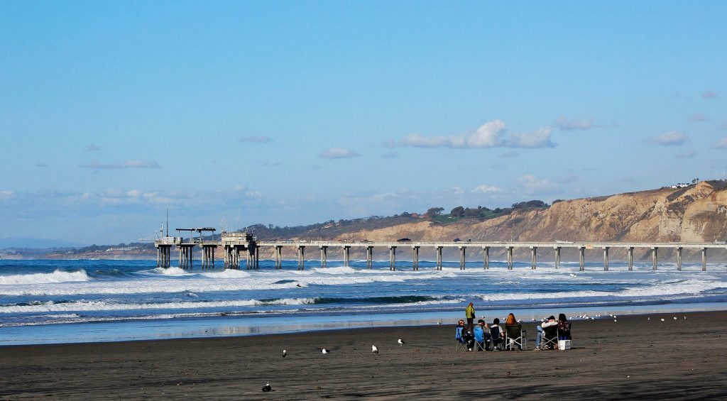 A photo of the beach facing Scripp's Pier