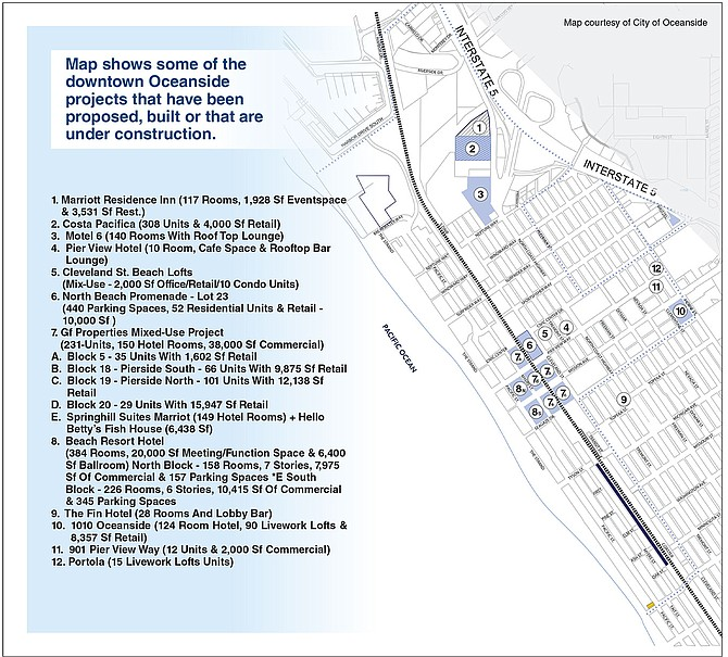 Map shows some of the downtown Oceanside projects that have been proposed, built or that are under construction.